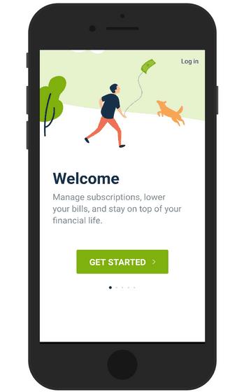 Truebill app starting page