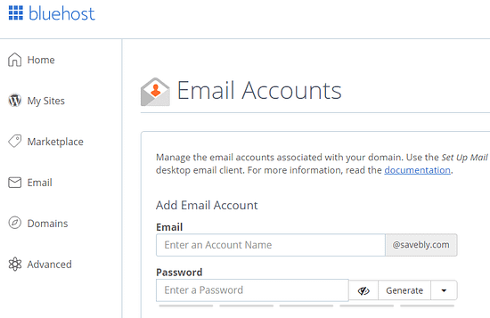 Setup your email accounts for your website or blog on Bluehost