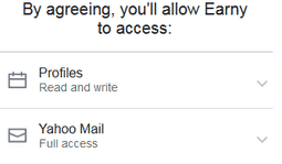 Earny permissions to email account
