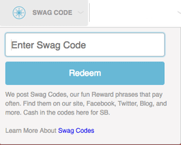 Swag codes entry
