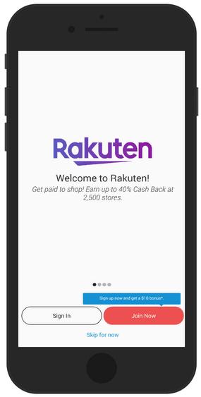 Rakuten App Sign Up Screen