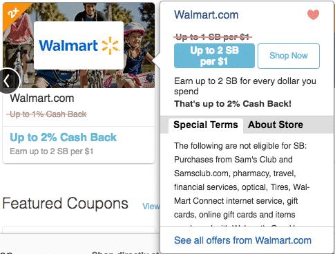 Swagbucks shopping store details for cash back