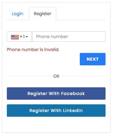 Airmule registration screen