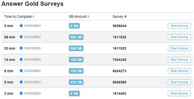 Swagbucks list of all surveys