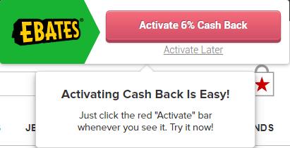 Ebates browser extension for cash-back