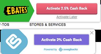 Swagbucks cashback and Ebates cashback