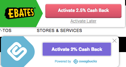 Ebates and Swagbucks browser extensions side by side