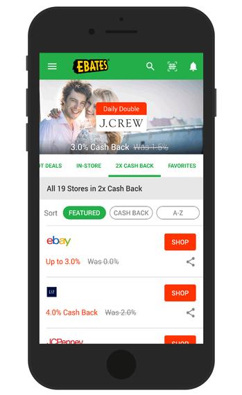 Ebates app cash-back screen