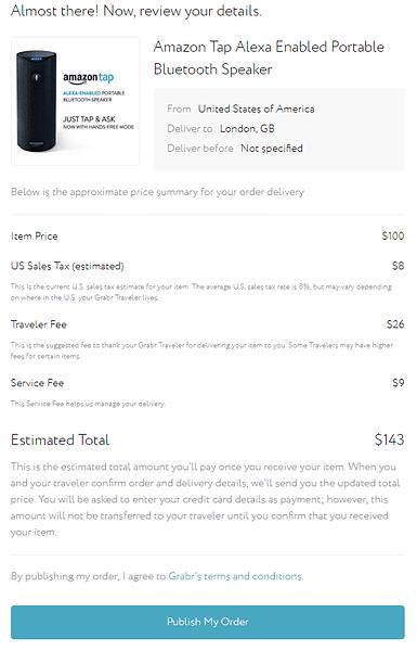 Grabr review order details