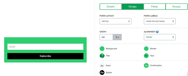 easy to design forms on MailerLite for your wordpress website or blog