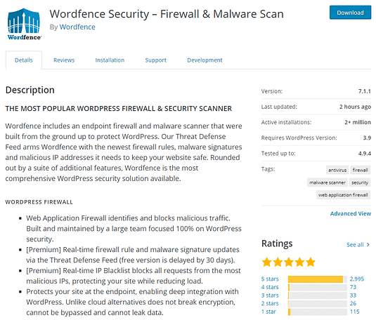 Wordfence security plugin for wordpress to keep your website or blog secure