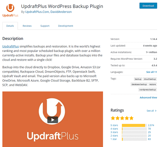 updraft plus plugin to backup your WordPress website or blog