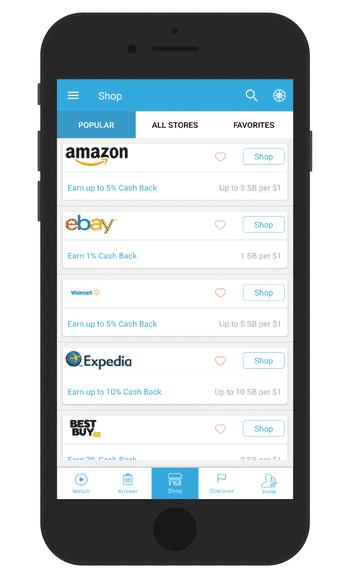 Swagbucks app shopping screen for cash-back