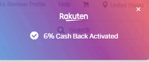 Rakuten Browser Extension Cash Back Activated