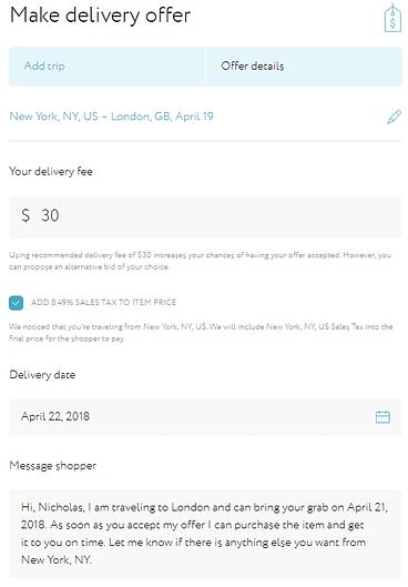 Grabr confirm delivery details